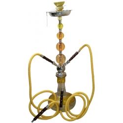 Fajka wodna, szklana, żółta SHISHA - 74 cm