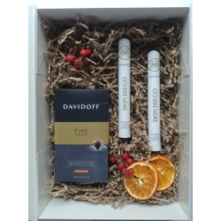 Zestaw prezentowy kawa Davidoff Fine Aroma+ cygaro Don Diego Monarch tube