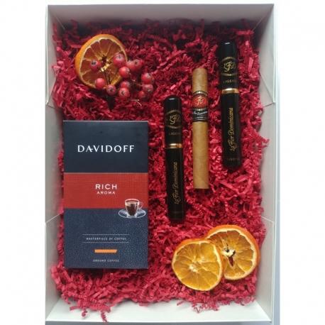 Zestaw prezentowy kawa Davidoff Rich Aroma+ cygaro La Flor Dominicana Ligero No.100